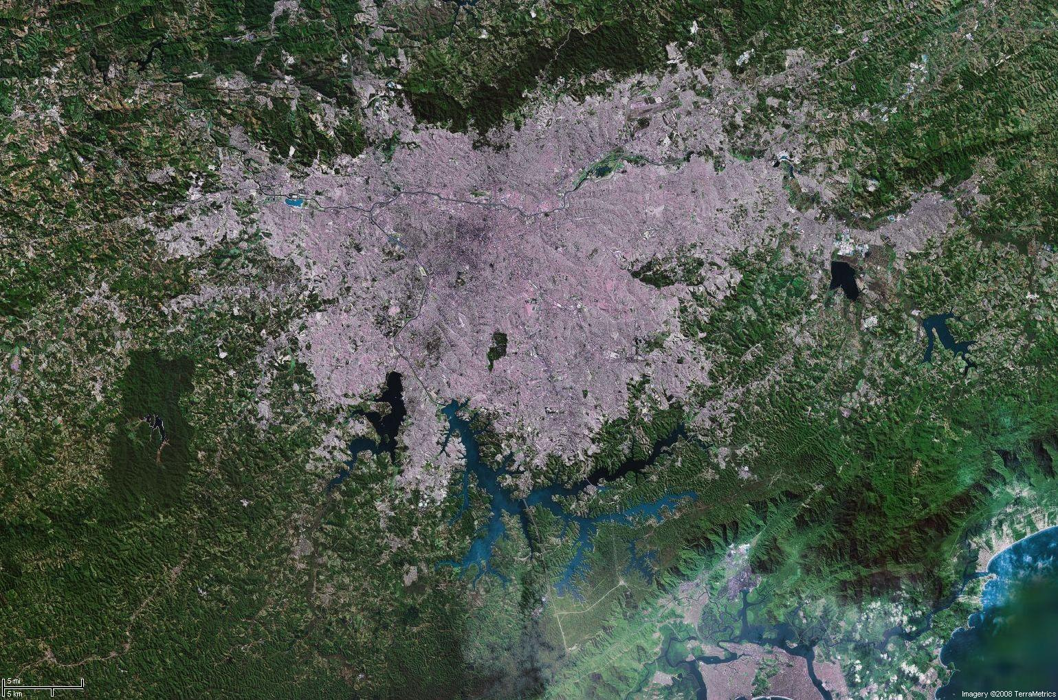 Carte Bresil Satellite.Plan Sao Paulo Satellite Carte Sao Paulo Satellite Bresil