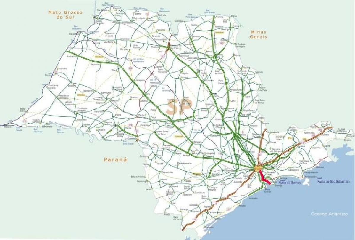 Carte autoroute Anchieta - SP 150